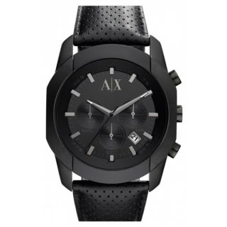 Armani Exchange AX1170 Mens Black Dial Black Plated Stainless Steel