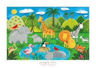 Sophie Harding Jungle Fun Waterhole Animals Print
