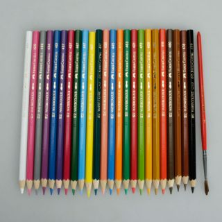24 Colors Water Soluble Drawing Pencils Faber Castell + 1 Brush