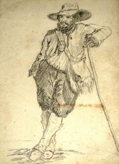 FOLK ART Pencil DRAWING c1850 Crockett BOONE Carson WESTERN