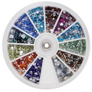 1000 mix shape nail art glitter tips rhinestones high quality 100 25