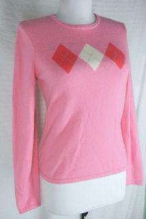 Lands End 100 Cashmere Argyle Pink Preppy Pullover Sweater s 4 6