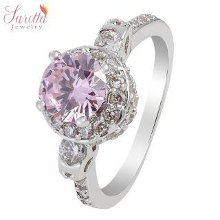 NEW ARRIVALS ROUND CUT 18K WHITE GOLD PLATED PINK SAPPHIRE FASHION