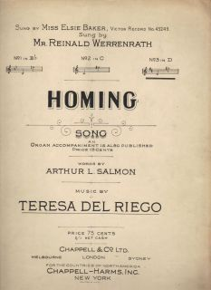 Homing Teresa Del Riego Arthur L Salmon No 3 in D Sheet Music