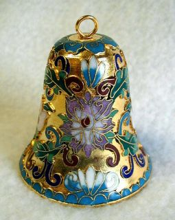 Cloisonné Bell Ornament Art Nouveau Lillian Vernon Metal with Enamel