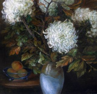 Large salon oil. White Chrysanths and Autumn leaves. Dated 1923.