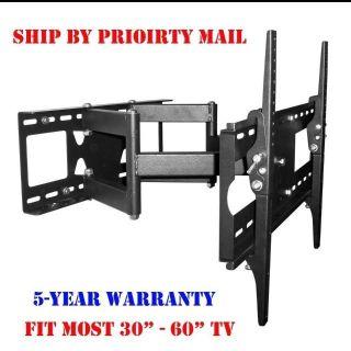 DUAL ARM ARTICULATING LED LCD PLASMA TV TILT WALL MOUNT 32 37 42 46 47