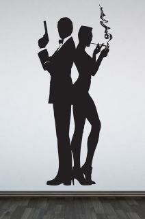 Wall Art Decal Sticker Silhouette of James Bond 007 Bond Girl Women
