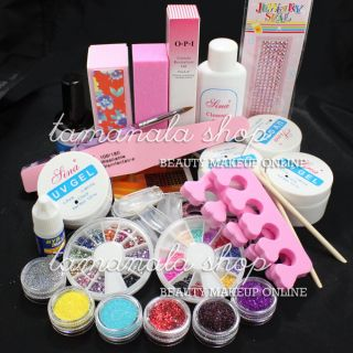 Pro UV Builder GEL NAIL ART KIT Cleanser Fine Block Glitter Cleanser