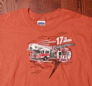 Firefighters Hot Times Kool Cars Arvada Colorado Orange T Shirt Small