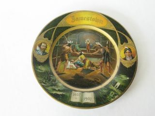 Jamestown Indian Vienna Tin Art Plate Historical Plate