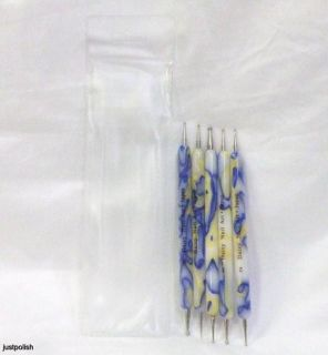 Daisy Nail Art Blue Yellow Marble Dotting Tool Set 5 Pieces of 2 Ended