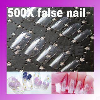 Natural Clear French False Artificial Acrylic Nail Art Full Tips Kit