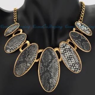 Fashion Golden Chain Oval Gray Artificial Snake Skin Stripe Pendant
