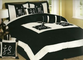 13pc Comforter Set Black and White Asian Print Blk WT King 45 w Free