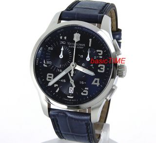 SWISS ARMY MEN ALLIANCE CHRONO 100M SAPPHIRE SOLID STEEL LEATHER STRAP