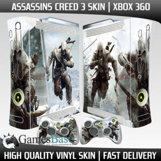 New Assassins Creed 3 Xbox 360 Vinyl Skin Stickers 2 x Controller