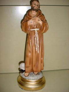 ST FRANCIS ASSISI VINTAGE CATHOLIC STATUE 13 TALL COMPOSITION