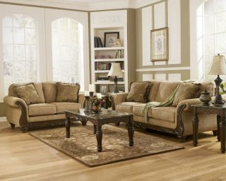 Ashley Furniture Montgomery Mocha Living Room Sofa Set Loveseat 38300