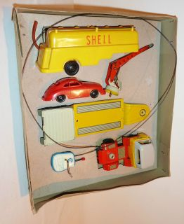 Arnold w Germany Tin Litho 1956 Spielwaren Semi Truck Set with Porsche