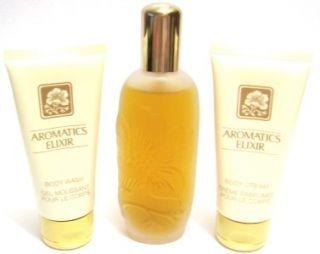 Clinique Aromatics Elixir Set 3.4 Oz Perfume Spray + Body Cream + Body