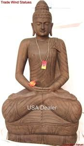 Stone ZEN GARDEN Sitting BUDDHA STATUE Asian Decor Sculpture #469