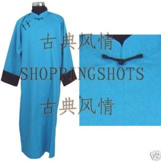 Chinese Long Gown Clothing Traditional Clothes 094102 Blue Custom Made