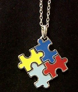 autism asperger color puzzle piece necklace