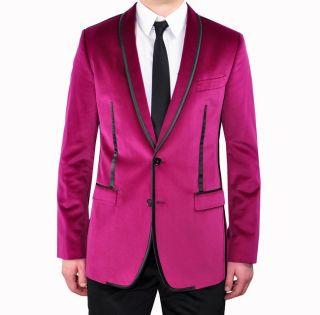 2200$ DOLCE & GABBANA RUNWAY Tuxedo Blazer Jacket Veste Pink Red Rouge