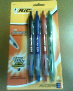 NEW BIC ATLANTIS BALL POINT 4 BLUE BLACK RED GREEN PENS MEDIUM FREE