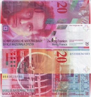 Switzerland 20 Francs P 69 UNC Note Arthur Honegger 2005