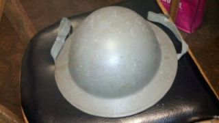 WWI US MILITARY GREEN DOUGHBOY ARMY HELMET W/ LINER, CHIN STRAPS, B56