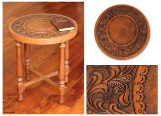 Colonial Artisan Stylized Floral Hand Tooled Leather Hardwood Accent
