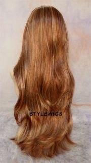 Extra Long Natural Waves Blonde Auburn 3 Tones Mix Full Body Wavy Wig