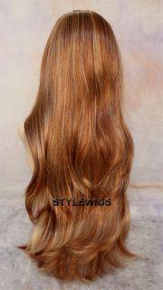 Extra Long Natural Waves Blonde Auburn 3 Tones Mix Full Body Wavy Wig