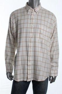John Ashford New Ivory Flannel Long Sleeve Button Down Shirt XL BHFO