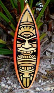 Red Hot Tiki Surfboard Wall Art Beach Tropical Decor FL