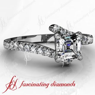 75 Ct Asscher Cut Diamond Engagement Ring Pave Set 14k White Gold VVS2