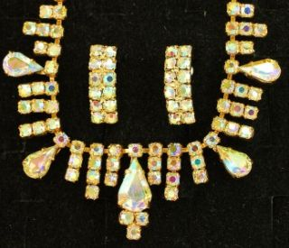 Vintage Aurora Borealis Prong Set Rhinestone Necklace Earrings