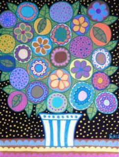 Talavera Mexican Folk Art Pastel Flowers Vase Spring Kerri Ambrosino