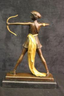 DIANA ARTEMIS THE HUNTRESS GREEK ROMAN GODDESS 100% BRONZE STATUE ON