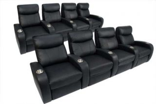 Theater Seating 8 Seats Black Power Recliners Leather Chairs