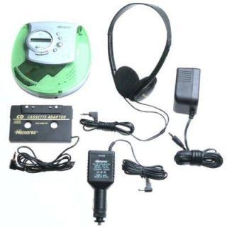 Portable 40SEC CD Player Car Kit AC Cassette Adapter Green