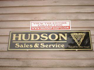 30s Hudson Classic Antique Auto Garage Art Dealer Service Sign