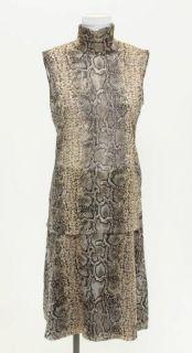 Gabbana 2pc Beige & Black Snake Print Silk Top & Skirt Set Size 40/42