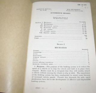 Technical Manual Automotive Brakes   WWII, 1941   TM 10 565