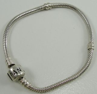 Authentic Pandora Sterling Silver Snake Chain Charm Bracelet 6.75
