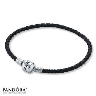 Authentic Pandora Black Leather Bracelet 7 5