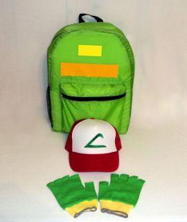 Pokemon Ash Ketchum Trainer Accessories Set Backpack Hat Gloves USA
