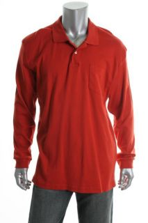 John Ashford New Red Long Sleeve Interlock Front Pocket Polo Shirt XL